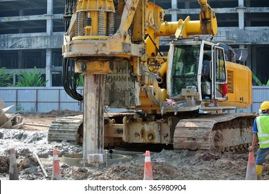 PERAK, MALAYSIA â?? FEBRUARY 02, 2015: Bore rig at the construction site in Malaysia. The machine used to bore sample of underground soil and sent it to laboratory.