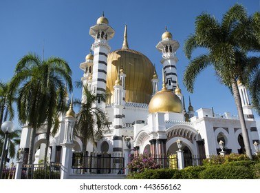 PERAK, MALAYSIA - JUNE 25, 2016: Ubudiah Mosque is a Royal Mosque in Kuala Kangsar, Perak, Malaysia. It was one of the most beautiful mosques in Malaysia. Built in 1913 and completed in 1917.