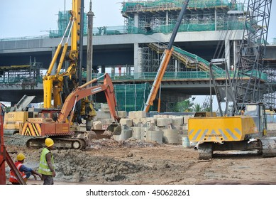 PERAK, MALAYSIA -JUNE 30, 2016: Heavy machinery used at the construction site in Malaysia.