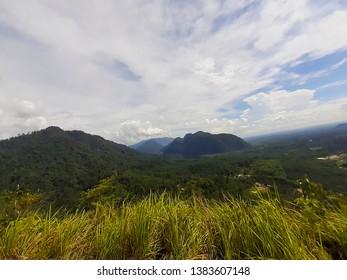 PERAK, MALAYSIA -Map 14, 2019: The view from Bukit Batu Putih summit as high as 310 meters above sea level located in Perak Malaysia.