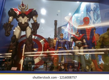 Perak, Malaysia. October 28, 2018: Marvel character hero toys are exhibited inside the glass shelves for sale at Aeon Shopping Mall.