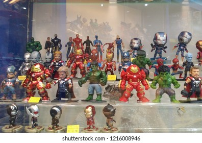 Perak, Malaysia. October 28, 2018: Marvel characters soft toys are exhibited inside the glass shelves for sale at Aeon Shopping Mall.