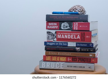 Perak, Malaysia.  Sept 11, 2018: My personal collection of read books stack on my shelf at Tmn Mas.