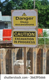 PERAK, MALAYSIA â?? SEPTEMBER 17, 2015: Warning deep excavation beyond this hoarding, danger deep excavation at the construction site in Malaysia