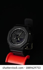 "Perak, Malaysia,12 December 2020: ""An image of Gshock watch model GA-2100 with black background"""