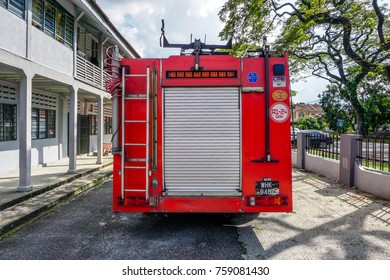 Perak,Malaysia,November 21 2017:The Fire & Rescue Department of Malaysia fire truck parked and ready for duty in Perak. Its also known as Bomba,  the federal fire & rescue services agency in Malaysia.