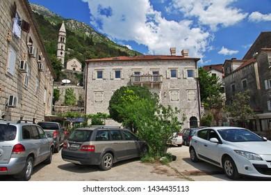 Perast / Montenegro - 06 May 2018: The ancient city Perast on the Adriatic coast, Montenegro