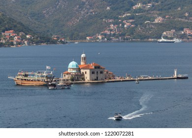 Perast, Montenegro - 08.25.2018: The artificial island Gospa od Skrpjela (Our Lady of the Rocks), Perast, Montenegro