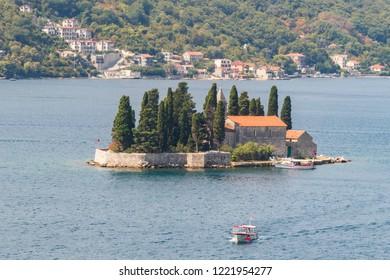 Perast, Montenegro - 08.25.2018:  St. George (Sveti Juraj) island, Kotor Bay, Perast Montenegro