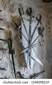 PERAST, MONTENEGRO - APR 25, 2019 - Swords and cutlasses in the museum of the Church of Our Lady of the Rocks, Perast, Montenegro