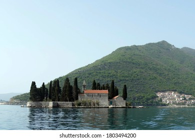PERAST, MONTENEGRO - APR 25, 2019 - Church of Our Lady of the Rocks, Perast, Montenegro