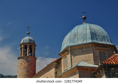 PERAST, MONTENEGRO - AUG, 2016: The Gospa od Skrpjela (Our Lady of the Rocks) island's church