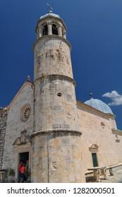 Perast, Montenegro Aug 2016: Gospa od Skrpjela (Our Lady of the Rocks),
