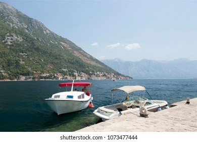 PERAST, MONTENEGRO - AUGUST 04, 2017: View of the city from the island of Our Lady of the cliffs in Boka Bay.