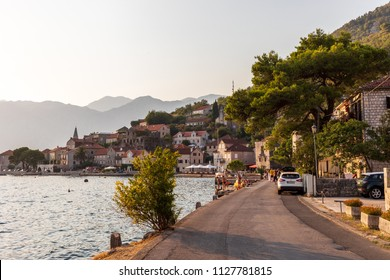 Perast, Montenegro / August 2017 - Tourists at the city of Perast in the Kotor Bay