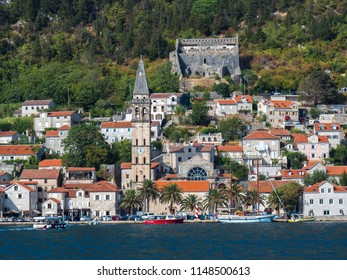 PERAST / MONTENEGRO - AUGUST 22 2017: Panoramic view of Perast from the Gulf of Kotor.