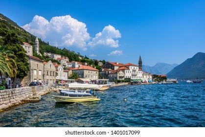PERAST, MONTENEGRO - AUGUST 6, 2017: Perast on the Bay of Kotor