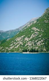 Perast Montenegro. island church in perast kotor bay montenegro. Sea view, Monastery on the island in Perast, Montenegro