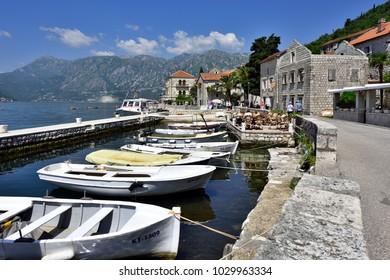PERAST, MONTENEGRO - JULY 08, 2015: Coast of Perast - one of typical Kotor Harbor Villages