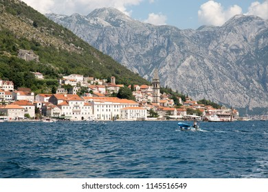 Perast, Montenegro, July 2018 - View of Perast town from the Bay of Kotor