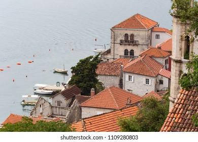 PERAST, MONTENEGRO - JUNE 03, 2017: view of Perast, in Boka Bay, in Montenegro