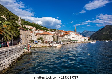 Perast, Montenegro - June, 2018: Perast city in Boka Kotor Bay in Montenegro