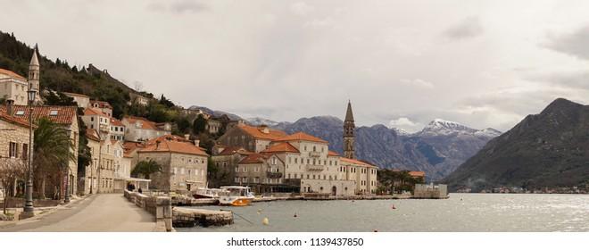 Perast / Montenegro - March 2016: Perast lake view near Kotor.