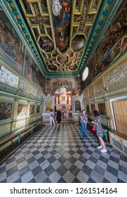 PERAST, MONTENEGRO - OCTOBER 20, 2018: The Gospa od Skrpjela (Our Lady of the Rocks) island's church is seen from inside on October 20, 2018 in Perast, Montenegro.