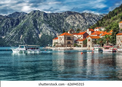 PERAST, MONTENEGRO - OCTOBER 21, 2015: Boat tour of the Kotor Bay