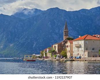 PERAST, MONTENEGRO - SEPTEMBER 2, 2018. Old city of Perast and Bay of Kotor, Montenegro