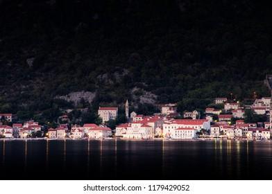 Perast in night Boka Kotorska Montenegro 2018