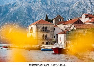 Perast town in Kotor Bay Montenegro