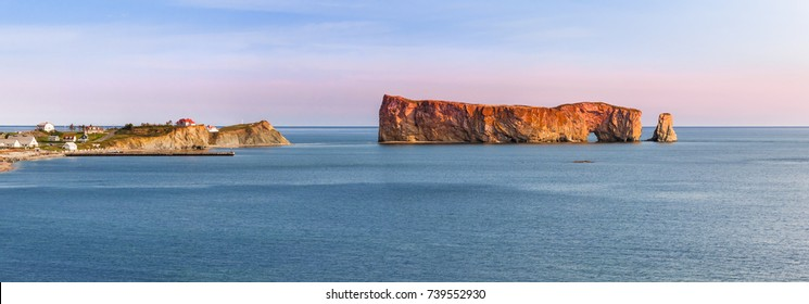 Perce Rock panoramic view from  Gaspe Peninsula at sunset  in Quebec, Canada