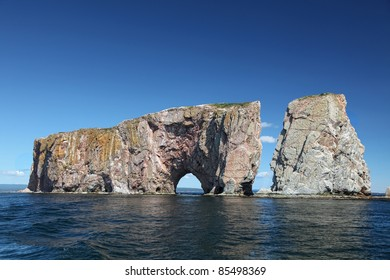 Perce Rock from the sea, Atlantic Ocean, Quebec, Canada