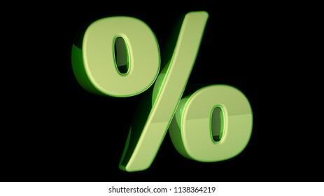 Percent. 3D Illustration.