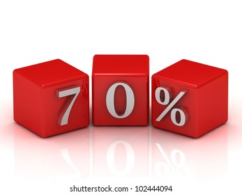 Percent Discount 70% on red cubes isolated on white background