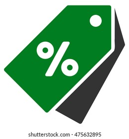 Percent Discount Tags icon. Glyph style is bicolor flat iconic symbol with rounded angles, green and gray colors, white background.