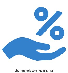 Percent Offer Hand icon. Glyph style is flat iconic symbol with rounded angles, cobalt color, white background.