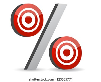 percent red symbol with conceptual targets illustration