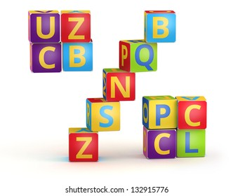 Percent sign from ABC cubes for kid spell education