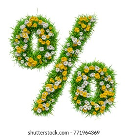 Percent Sign of Green Grass And Flowers, isolated on white background.