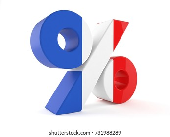 Percent symbol with france flag isolated on white background. 3d illustration