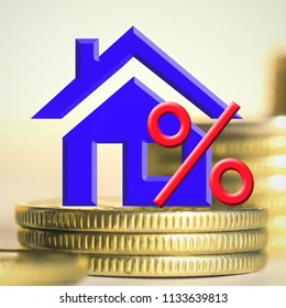 The percent symbol on the background of real estate and money .The concept of mortgage lending .