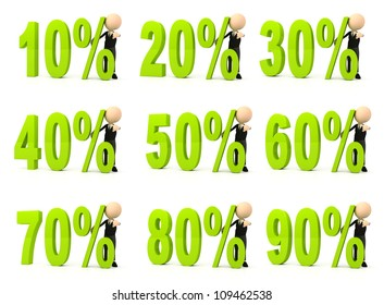 Percent symbol on white background. Computer generated image