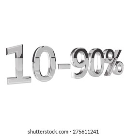 Percentage 10-90, isolated over white background, 3d render, square image