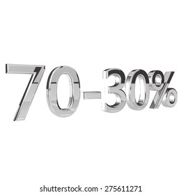 Percentage 70-30, isolated over white background, 3d render, square image
