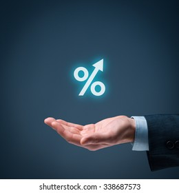 Percentage growth concept - symbol of increasing revenue, profit, EBIT and another positive growth in business.