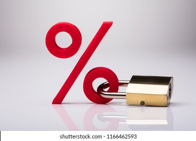 Percentage Sign Locked With Keypad Lock On White Background