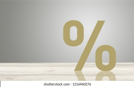 Percentage sign symbol icon wooden on wood table with white background