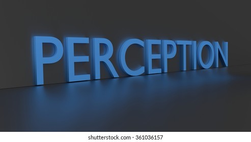 Perception concept word - blue text on grey background.